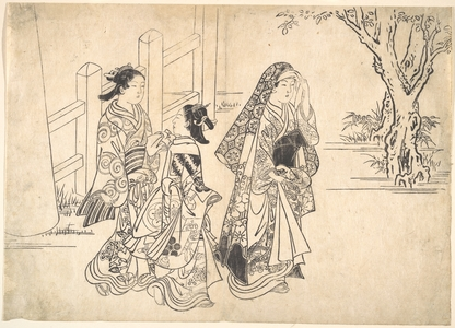 Nishikawa Sukenobu: A Courtesan Followed by Two Girl Attendants - Metropolitan Museum of Art