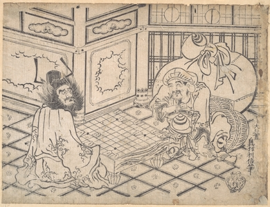 Okumura Toshinobu: Daikoku and Shoki Playing Chess - Metropolitan Museum of Art