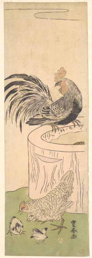 Utagawa Toyoharu: Cock, Hen, and Chickens - Metropolitan Museum of Art