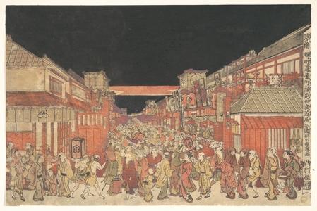 Utagawa Toyoharu: Sakaichô Fukiyachô Kaomise Yoshibai no Zu - Metropolitan Museum of Art