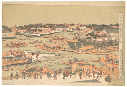 Utagawa Toyoharu: New Great Bridge at Naka Zu in Edo - Metropolitan Museum of Art