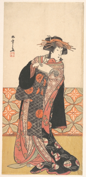 Katsukawa Shunsho: Nakamura Riko as Richly Clad Courtesan Standing in a Room - Metropolitan Museum of Art