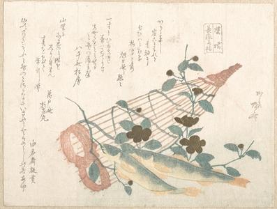 柳々居辰斎: Sweet Fishes of the Nagara River, with Baskets and Flowers - メトロポリタン美術館