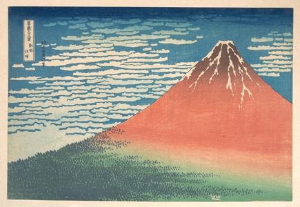葛飾北斎: South Wind, Clear Sky (Gaifû kaisei), also known as Red Fuji, from the series Thirty-six Views of Mount Fuji (Fugaku sanjûrokkei) - メトロポリタン美術館