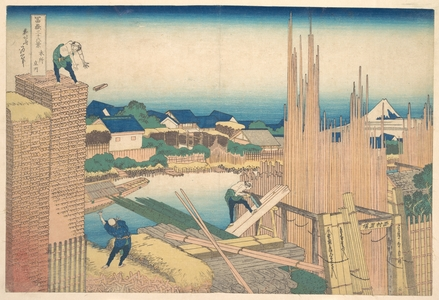 Katsushika Hokusai: Tatekawa in Honjô (Honjô Tatekawa), from the series Thirty-six Views of Mount Fuji (Fugaku sanjûrokkei) - Metropolitan Museum of Art