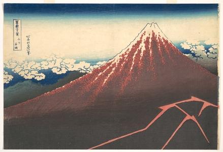 Katsushika Hokusai: Storm below Mount Fuji (Sanka no haku u), from the series Thirty-six Views of Mount Fuji (Fugaku sanjûrokkei) - Metropolitan Museum of Art