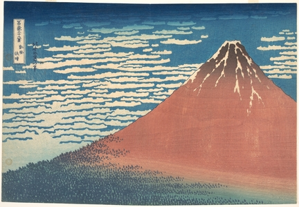 Katsushika Hokusai: South Wind, Clear Sky (Gaifû kaisei), also known as Red Fuji, from the series Thirty-six Views of Mount Fuji (Fugaku sanjûrokkei) - Metropolitan Museum of Art