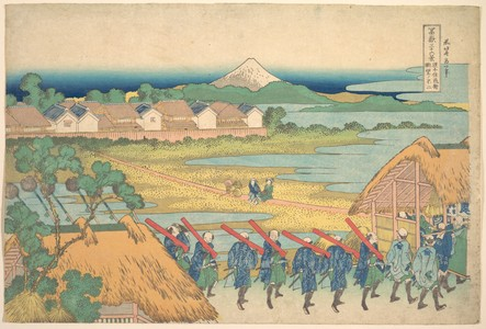 葛飾北斎: Fuji Seen in the Distance from Senju Pleasure Quarter (Senju kagai yori chôbô no Fuji), from the series Thirty-six Views of Mount Fuji (Fugaku sanjûrokkei) - メトロポリタン美術館