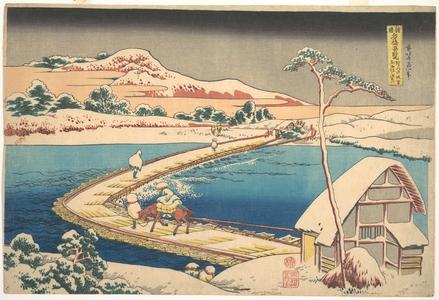 Katsushika Hokusai: Old View of the Boat-bridge at Sano in Kôzuke Province (Kôzuke Sano funabashi no kozu), from the series Remarkable Views of Bridges in Various Provinces (Shokoku meikyô kiran) - Metropolitan Museum of Art