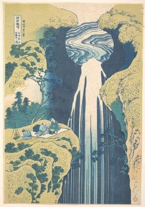 葛飾北斎: The Amida Falls in the Far Reaches of the Kisokaidô Road (Kisoji no oku Amida-ga-taki), from the series A Tour of Waterfalls in Various Provinces (Shokoku taki meguri) - メトロポリタン美術館