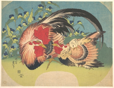 Katsushika Hokusai: Rooster, Hen and Chicken with Spiderwort - Metropolitan Museum of Art