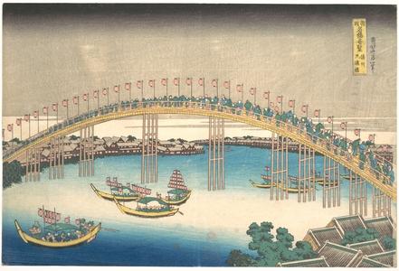 Katsushika Hokusai: Tenman Bridge at Settsu Province (Sesshû Tenmanbashi), from the series Remarkable Views of Bridges in Various Provinces (Shokoku meikyô kiran) - Metropolitan Museum of Art