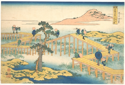 Katsushika Hokusai: Ancient View of Yatsuhashi in Mikawa Province (Mikawa no Yatsuhashi no kozu), from the series Remarkable Views of Bridges in Various Provinces (Shokoku meikyô kiran) - Metropolitan Museum of Art