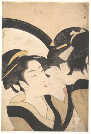 喜多川歌麿: Naniwa Okita Admiring Herself in a Mirror - メトロポリタン美術館