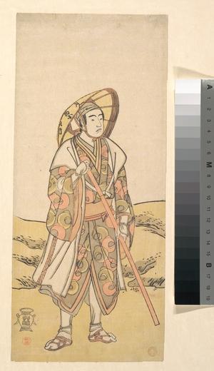 勝川春好: The Third Sawamura Sojuro as a pilgrim to Kannon Shrine - メトロポリタン美術館