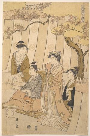 細田栄之: Prince Genji and Three Young Women - メトロポリタン美術館