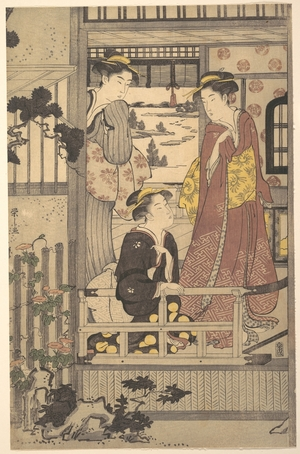 Hosoda Eishi: Three Women on a Veranda - Metropolitan Museum of Art