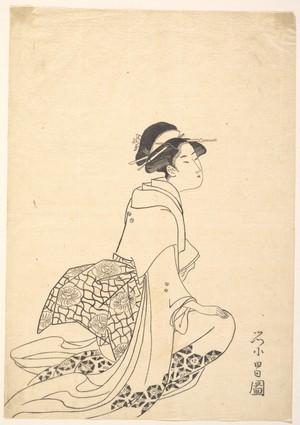 鳥高斎栄昌: A Woman Kneeling - メトロポリタン美術館