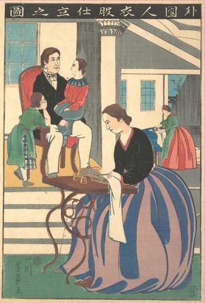 歌川芳員: Picture of a Foreigner Making Clothes - メトロポリタン美術館