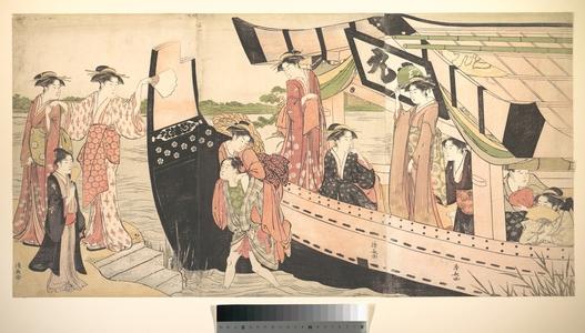 Torii Kiyonaga: Women Landing from a Pleasure Boat Drawn Up to the Shore at Mukojima on Sumida RIver, Edo - Metropolitan Museum of Art