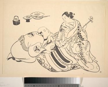 奥村政信: An Oiran Playing the Shamisen to a Young Man Kneeling by Her Side in Rapt Attention - メトロポリタン美術館