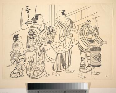 Okumura Masanobu: A Man Attended by a Servant Carrying a Lantern - Metropolitan Museum of Art