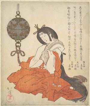 魚屋北渓: Kanjo (Court Lady) Seated, and a Tsurikoro Hanging near Her Head - メトロポリタン美術館