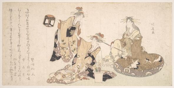 Teisai Hokuba: Three Young Ladies Visiting Together - Metropolitan Museum of Art