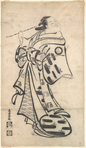 鳥居清倍: An Oiran Standing, a Pipe in Her right Hand, and Turning to Look Behind over Her Shoulder - メトロポリタン美術館