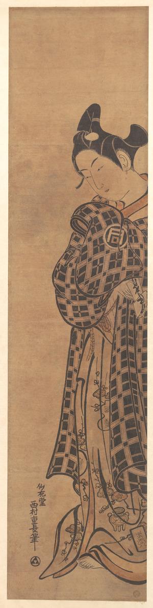 西村重長: The Actor Sanogawa Ichimatsu as a Young Man Holding a Folded Letter - メトロポリタン美術館
