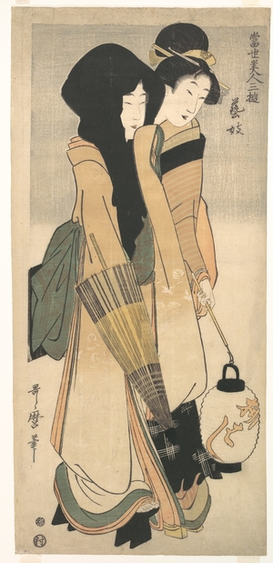 Kitagawa Utamaro: Two Women Walking at Night - Metropolitan Museum of Art