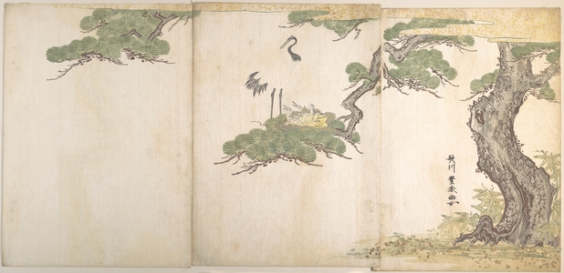 歌川豊春: Crane and Their Young in Their Nest in the Branches of a Pine-tree - メトロポリタン美術館