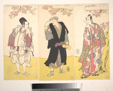 Katsukawa Shunsho: Ichikawa Yaozo II in Ceremonial Dress; Onoe Matsusuke Holding a Gourd; Sawamura Sojuro Holding a Writing Brush - Metropolitan Museum of Art