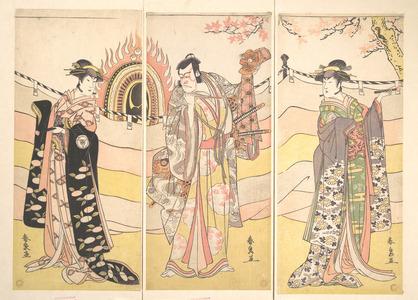 Katsukawa Shunsen: Three Actors in Beautiful Costumes Performing a Religious Dance - Metropolitan Museum of Art