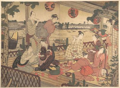 窪俊満: Two Young Men and Several Women Dining at a Tea-house on the Bank of the Sumida River - メトロポリタン美術館