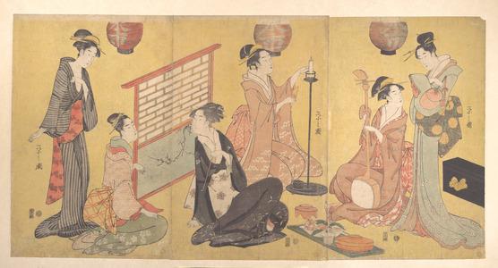 細田栄之: Geisha Preparing for an Entertainment - メトロポリタン美術館