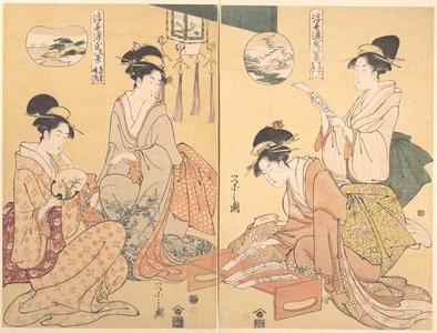 """細田栄之: Eight Parodied Scenes from The Tale of Genji: Chapter 41, """"The Wizard (Maboroshi),"""" and Chapter 19, """"A Rack of Cloud (Usugumo)"""" - メトロポリタン美術館"""