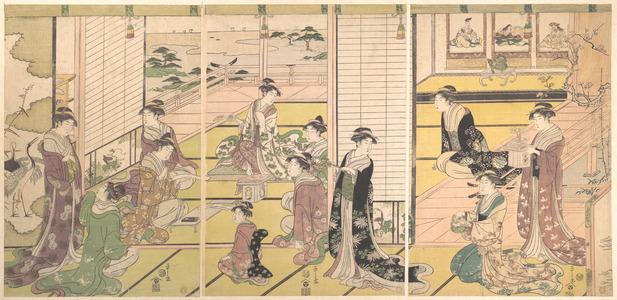 Hosoda Eishi: Fete in a Nobleman's Yashiki: Ladies Composing Poems - Metropolitan Museum of Art