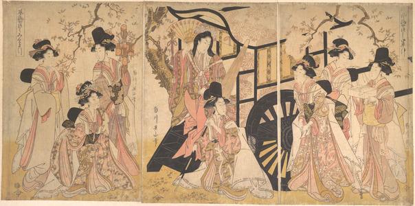 菊川英山: Elegant Transformed View of Drawing a Court Wagon - メトロポリタン美術館