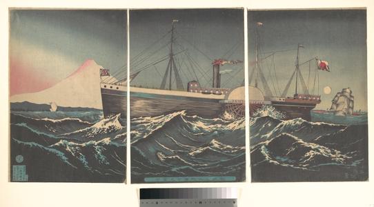 小林清親: Fuji with Boat at Miho in Sunshu (Shizuoka) - メトロポリタン美術館