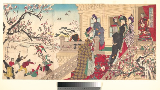 豊原周延: Women Viewing Plum Blossoms and Children Playing in the Snow - メトロポリタン美術館