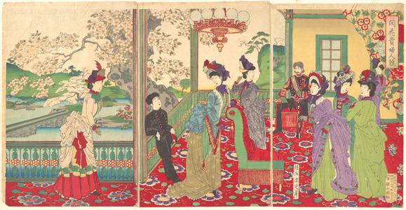豊原周延: A Contest of Beauties among the Cherry Blossoms - メトロポリタン美術館