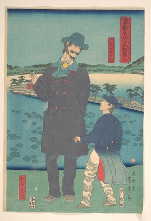 歌川貞秀: Dutchman and Child Viewing the Benten Shrine at Shinobazu Pond - メトロポリタン美術館