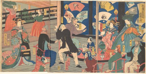 落合芳幾: The Five Nations Enjoying a Drunken Revel at the Gankirô Tea House - メトロポリタン美術館