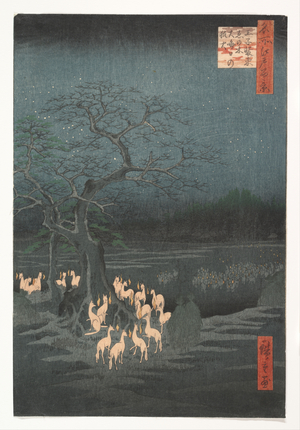 歌川広重: New Year's Eve Foxfires at the Changing Tree, Ôji - メトロポリタン美術館