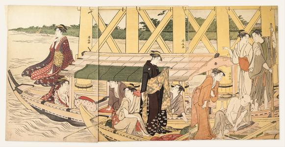 鳥居清長: Boating Parties under the Ryôgoku Bridge - メトロポリタン美術館