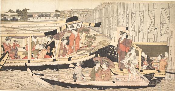 細田栄之: Pleasure Boats on the Sumida River at Ryogoku - メトロポリタン美術館