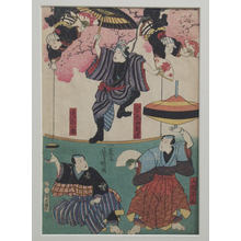 Utagawa Yoshiharu: Acrobats Beneath Cherry Trees: Spinning Tops and Balancing - メトロポリタン美術館