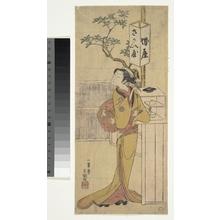 Ippitsusai Buncho: A Waitress of the Sakai-ya Teahouse Standing and Looking - Metropolitan Museum of Art