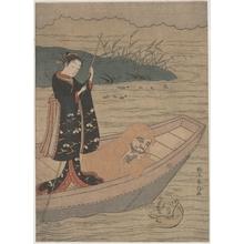 Suzuki Harunobu: Daruma in a Boat with an Attendant - Metropolitan Museum of Art